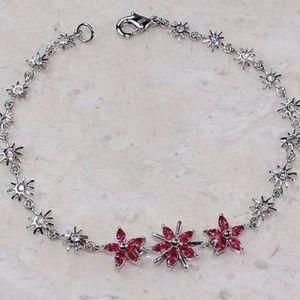 eye4jewelry Accessories - Silver sun bursts with Ruby & White Topaz Bracelet